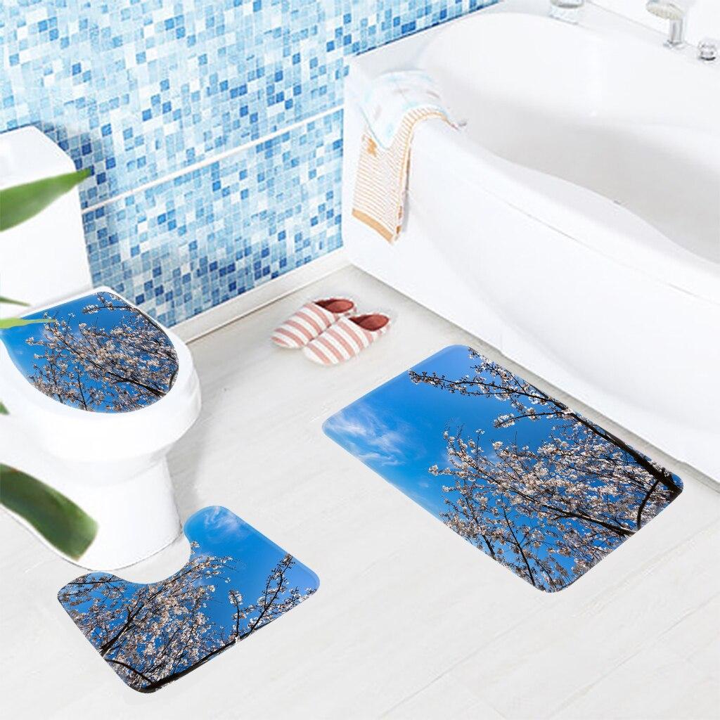 3 pz Tappeto Bagno Set Flawer Bianchi fiori di Ciliegio Modello ...