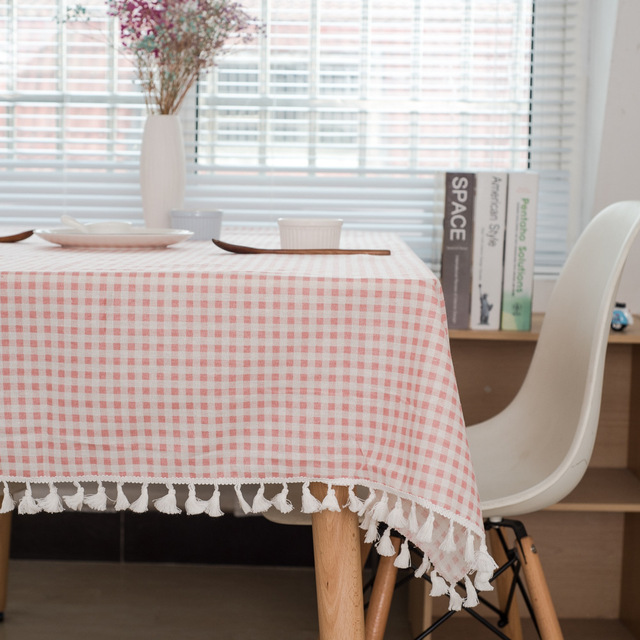 High   Quality Lattice Tablecloth Simple Cotton And Linen Small Fresh  Tassel Tablecloth Decorative Tablecloth Dust