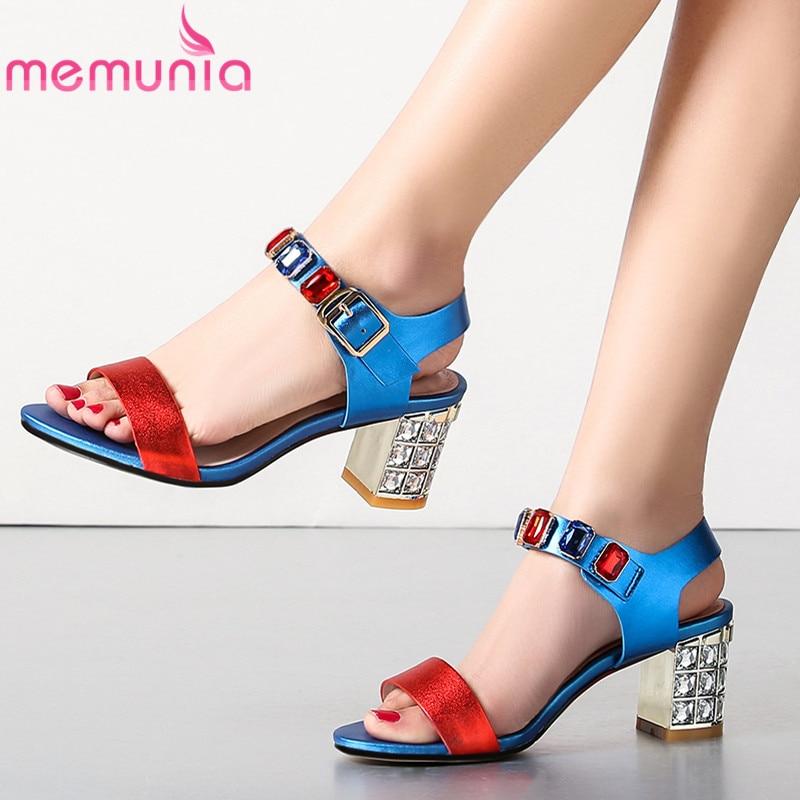 MEMUNIA 2019 buckle strap genuine leather women sandals fashion crystal high heels sandals summer shoes mixed