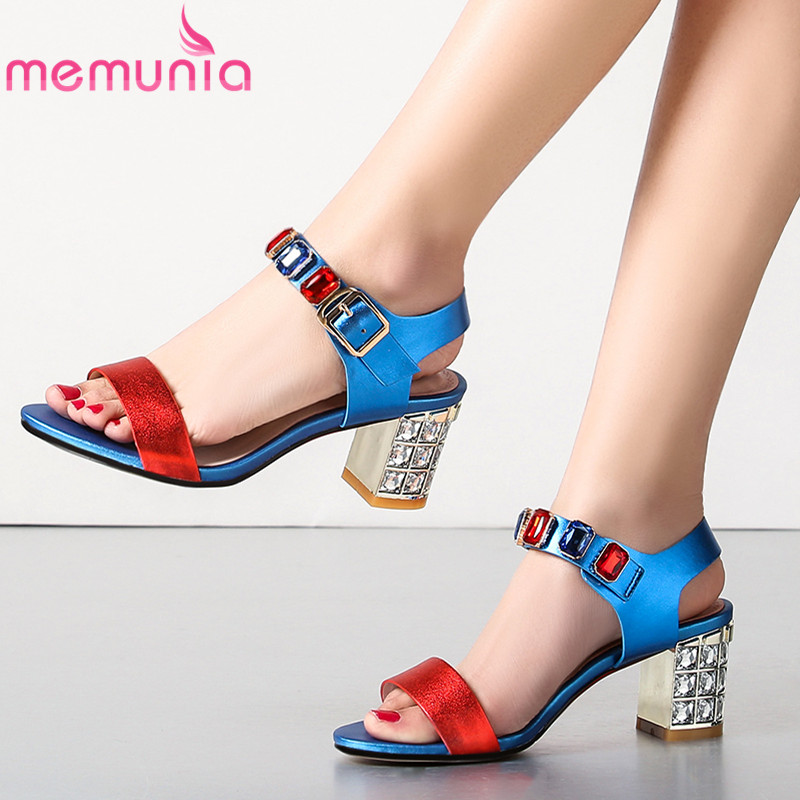 MEMUNIA 2019 buckle strap genuine leather women sandals fashion crystal high heels sandals summer shoes mixed color female shoesMEMUNIA 2019 buckle strap genuine leather women sandals fashion crystal high heels sandals summer shoes mixed color female shoes