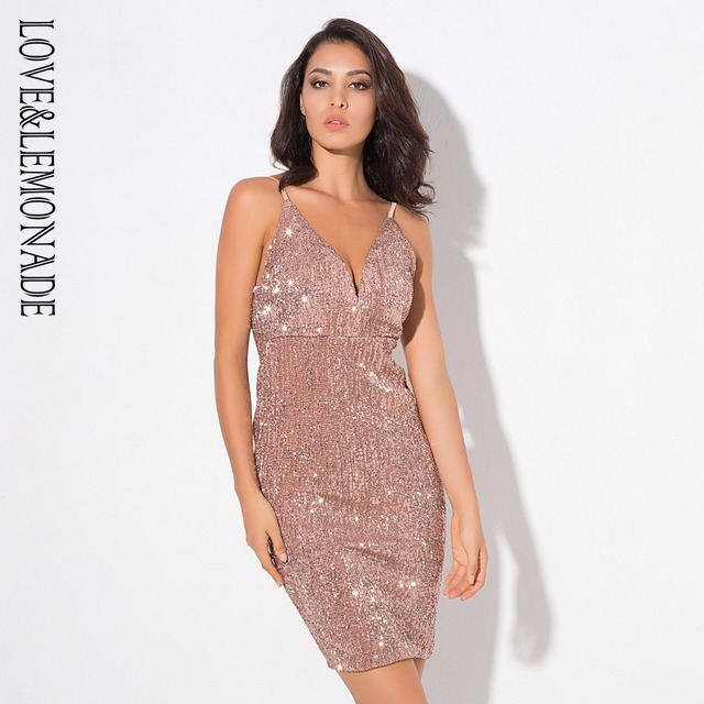 Love Lemonade Y Deep V Neck Rose Gold Elastic Sequins Halter Dress Lm0363
