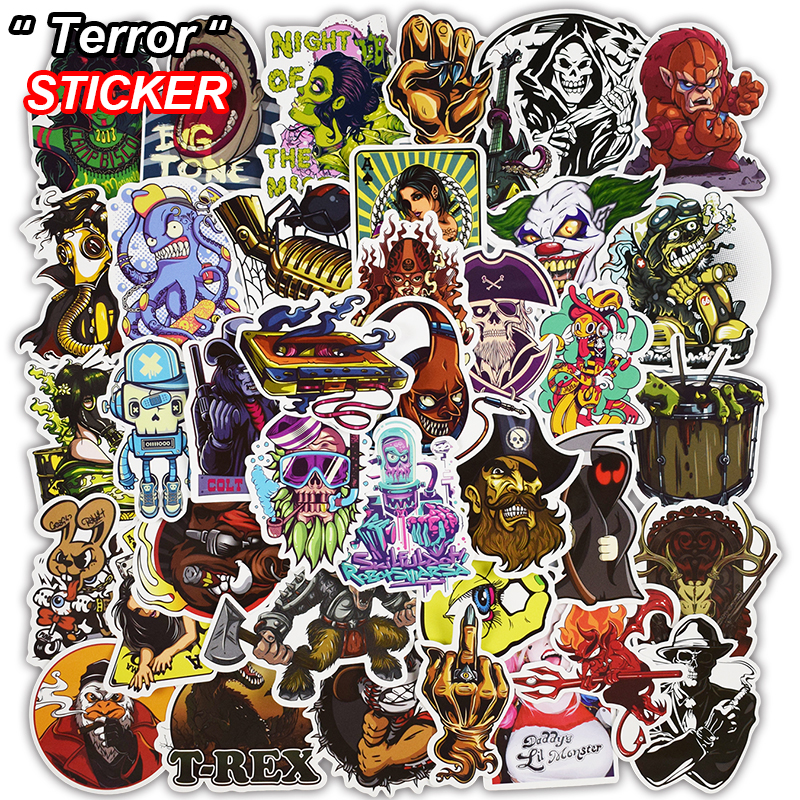 50 Pcs Mixed Terror Stickers for Luggage Laptop Skateboard Fridge Bick Motorcycle Car Home Decor Deal Horror Waterproof Sticker