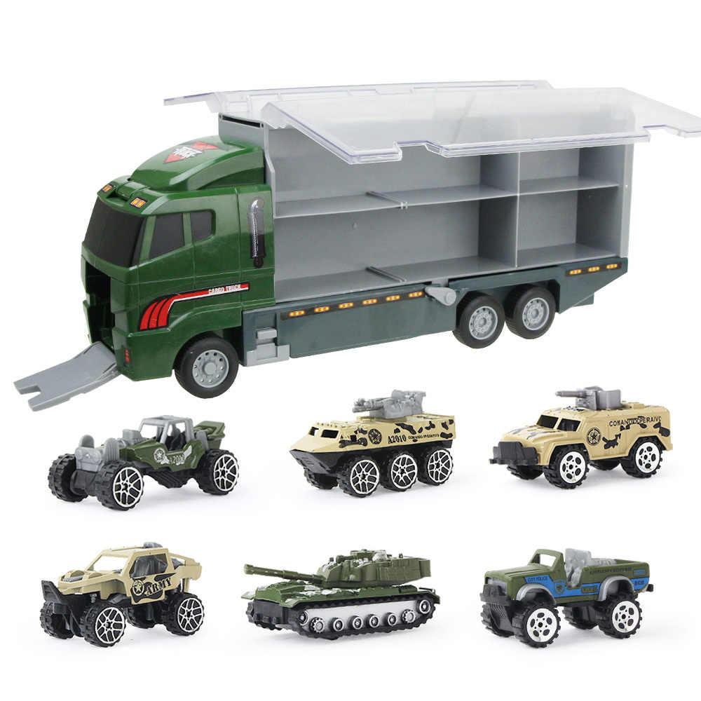 7 Buah/Set Mainan Mobil Teknik Model Truk Mini Truck untuk Anak-anak Anak Laki-laki Paduan Logam Mobil Anak-anak Kendaraan Mainan 4 Warna