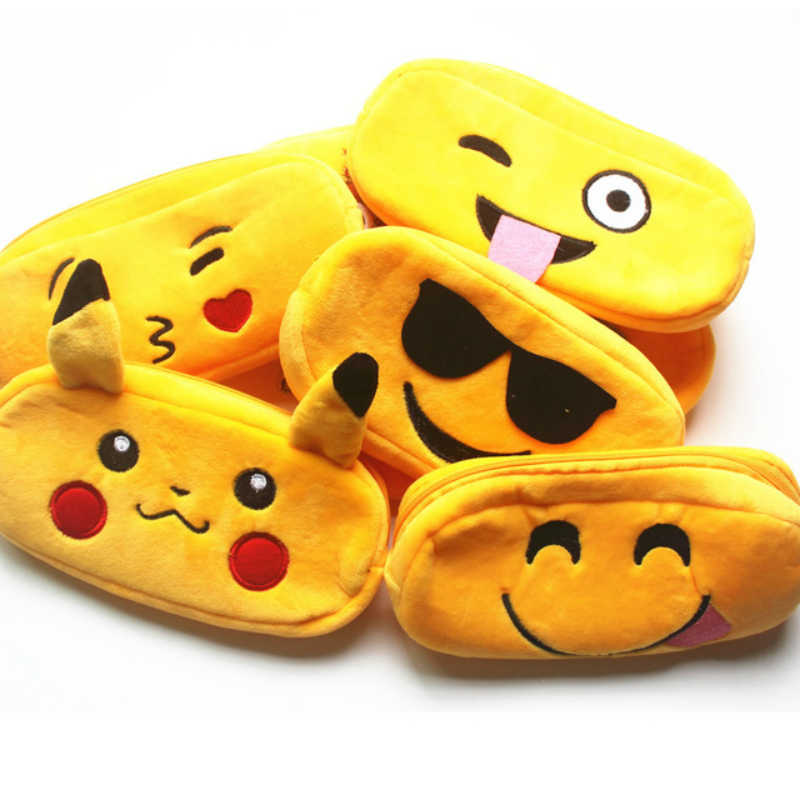 Emoji Face Plush Earphone Wire Box Data Line Cables Storage Box Case Container Coin Headphone Protective Box Case Container
