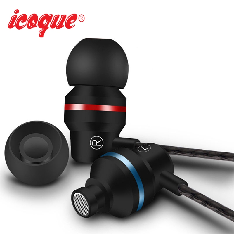 Icoque 3.5mm Wired In Ear Earphone Super Bass Headphones with Microphone for Computer MP3 iPhone 5 Xiomi Earphone Headset Metal