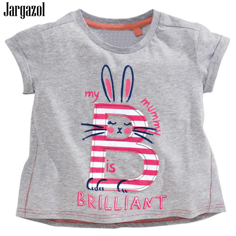Jargazol Baby Girls T Shirt 2018 Cotton Summer Top Embroidery Cartoon Printing Short Sleeve Tshirt Kids Clothes for 18M-6T