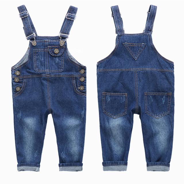 2016 de Alta Qualidade Do Bebê Da Menina do Menino Calça Jean Suspender Criança Lazer Calças Jeans Da Moda Primavera Outono Crianças Macacão Roupas