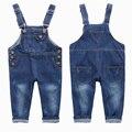 2016 de la Alta Calidad Del Muchacho Del Bebé de la Mezclilla Suspender Pantalones Niños Ocio Pantalones de Mezclilla de Moda Primavera Otoño Niños Trajes de Ropa