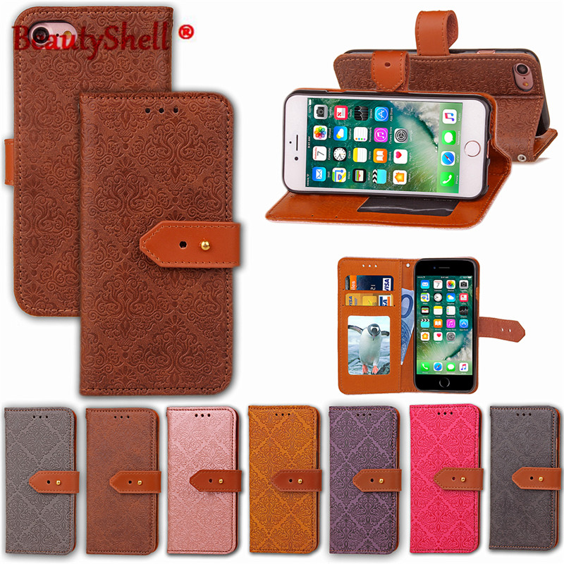 2017 New Arrival PU Leather European style Pattern Case For Apple iphone7 7Plus flip phone bag Cover with stand card holder