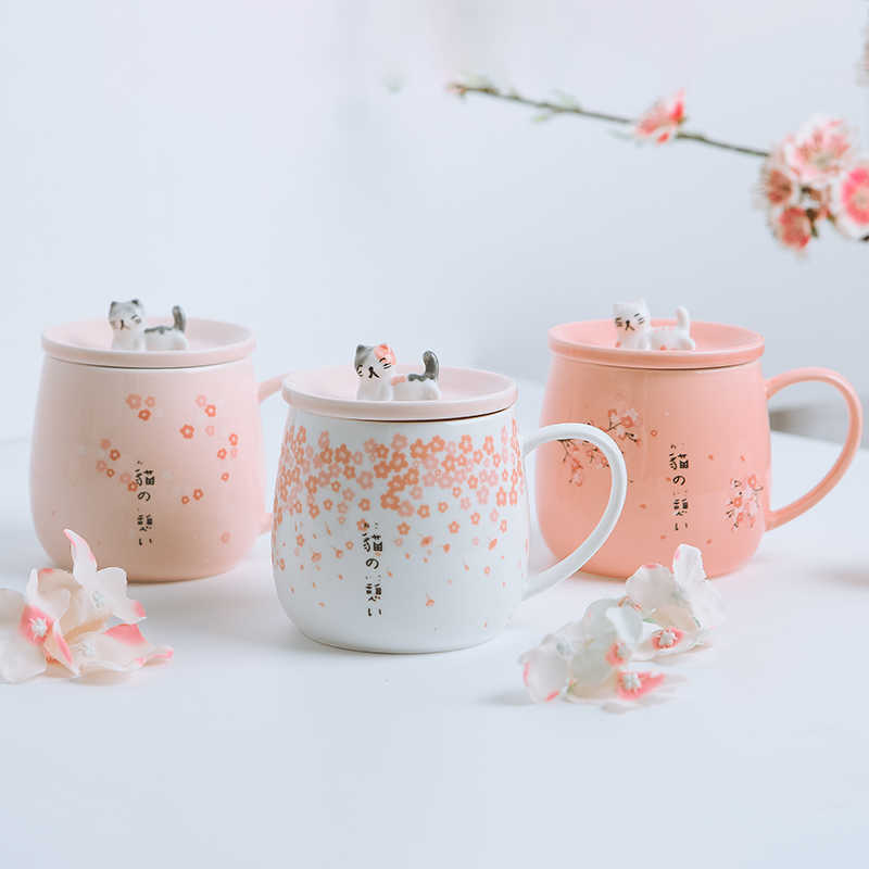 2019 New Japanese Cherry Blossoms Ceramics Mugs Cute 3D Cat Coffee Cups Breakfast Milk Tea Mug For Creative Gift Cup with Lid