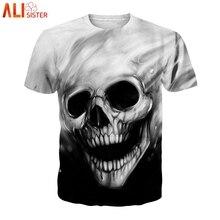 Alisister talla grande 3D camiseta de compresión de Fitness para hombre Tops verano cráneo masculino impreso camisetas de manga corta para mujer