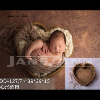 Jane Z Ann Newborn Baby Photography Love Heart wooden Basket Props Handmade studio shooting Accessories 3 colors 39x39x15cm