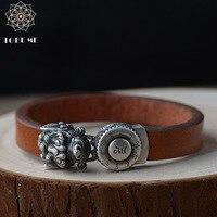 Handcrafted 925 Silver Yellow Jambhala Mantra Bracelet Wealth Pixiu Bracelet Yak Leather Bracelet Good Luck for wealth