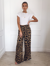 USA Womens High Waist Plain Palazzo Wide Leg Flared Ladies Loose Trousers Pants Elegent Leopard print wide-leg pants цена 2017