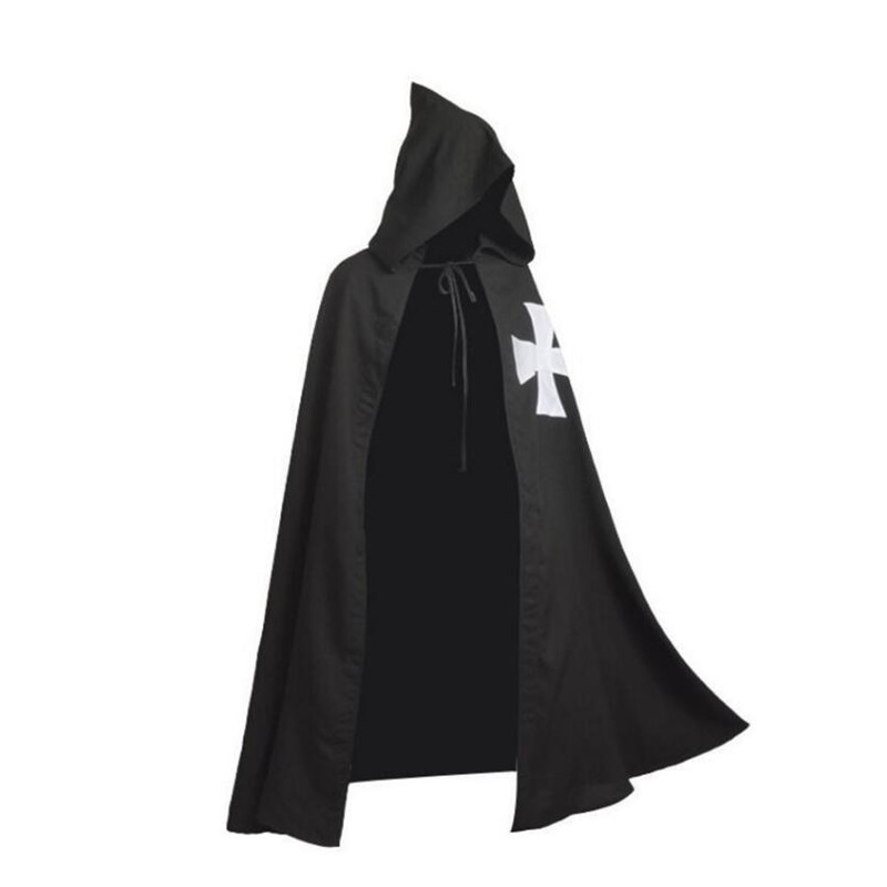Cosplay Cloak Medieval Crusaders Knight Hooded Cloak Pope Warrior Death Knight Costume Robe Black One S