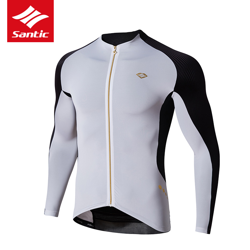 Santic Spring  Autumn Cycling Jersey Long Sleeve Men Bicycle Jersey Dry Breathable  Resist UV Cycling Clothings Maillot Ciclismo veobike men long sleeves hooded waterproof windbreak sunscreen outdoor sport raincoat bike jersey bicycle cycling jacket