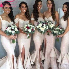 Arabic Mermaid bridesmaid Dress Sexy side Solit Gowns Off shoulder Wedding Guest Dresses Long Prom Dress Z017