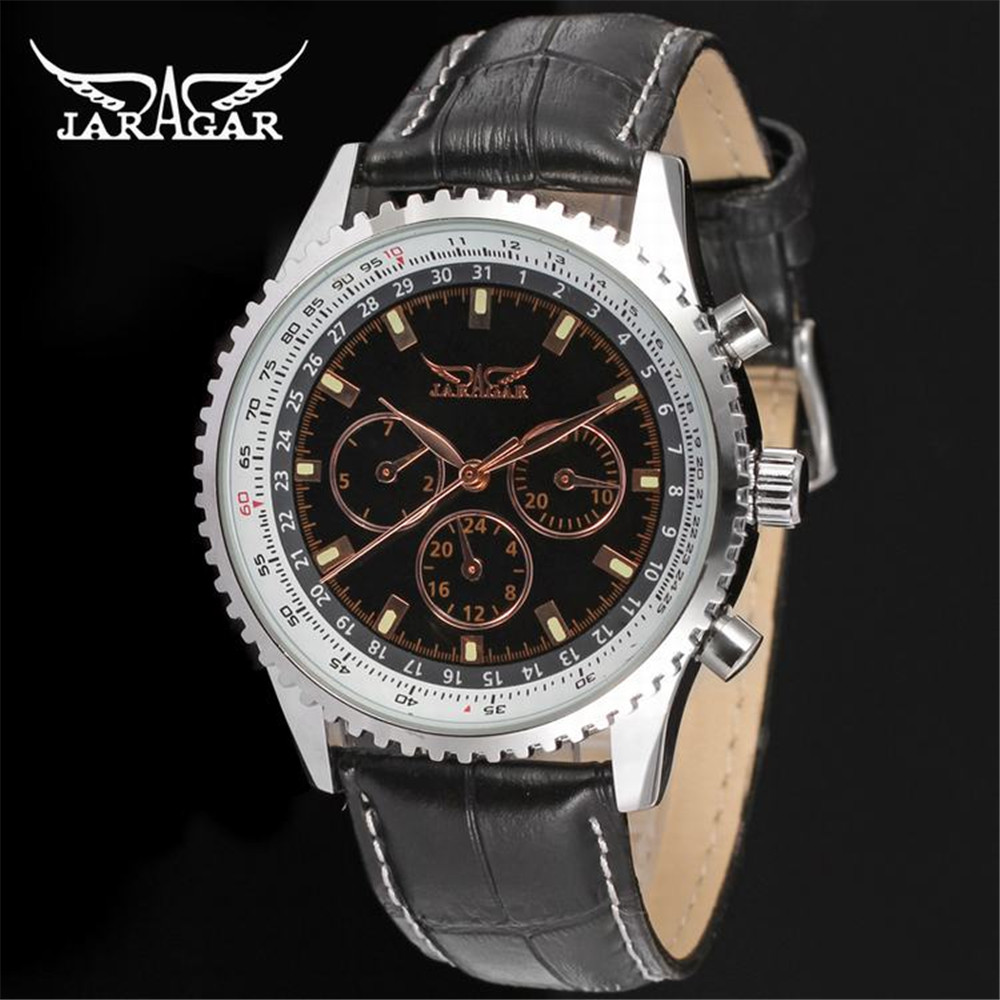 JARGAR 2016 New Design Product Mens Army Sport Watches Top Brand Luxury Leather Band Automatic Watches