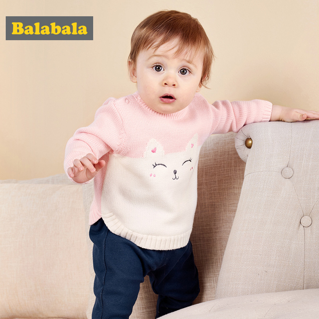 balabala Baby Boys girls infant Sweater Autumn Winter Newborn Cotton Clothes Pullover Sweater Pattern Open Shoulder For kids