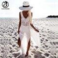 YEJIA MODA Gasa Del Verano Del Vestido Atractivo de la Playa Sin Mangas Profundo Escote en v Vestido Blanco Irregular Ahueca Hacia Fuera Las Mujeres Vestido Largo Maxi de Boho