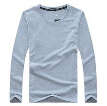 dc715b954a2a Grandes 5XL Tamanho dos homens Camisas de Manga Longa T Outono de Algodão  Rodada pescoço Dos