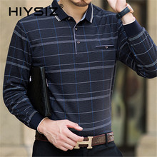 HIYSIZ Men T-Shirt 2019 Casual Plaid Streetwear Long Sleeves Turn-down Collar Autumn Fashion Trend Pullover Tshirt LT028