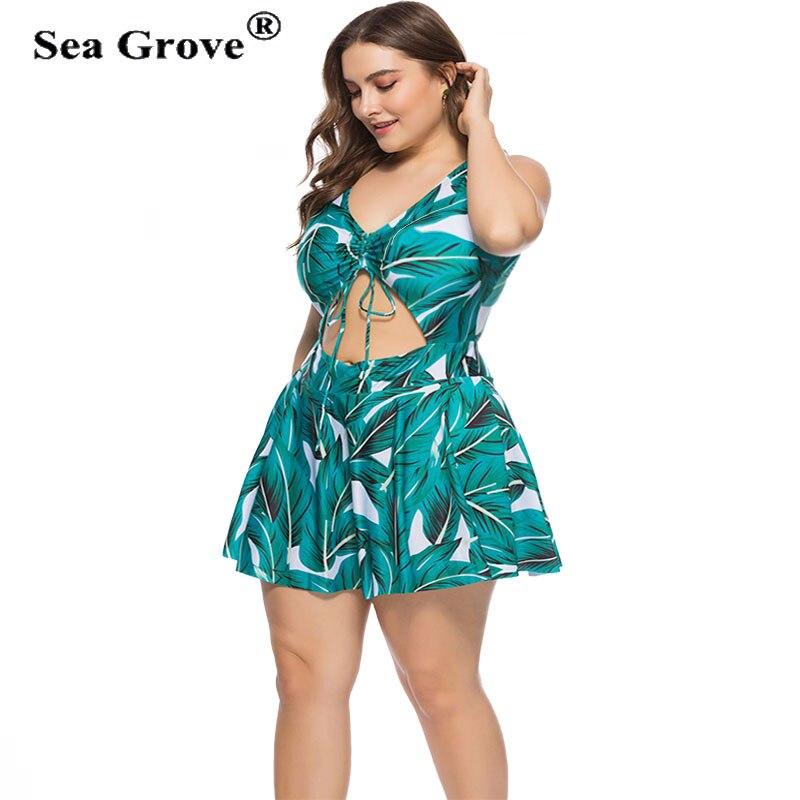 Plus Size Swimsuit green Print Bathing Suit Large Size Swimwear One Pieces Beachwear Big Size Beach Dress Women 3XL/4XL/5XL