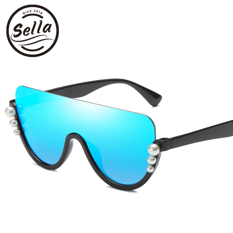 Sella New Fashion Women Oversized Conjoined Semi-Rimless Pearl Decoration Sunglasses Brand Designer Film Coating Ladies Eyewear