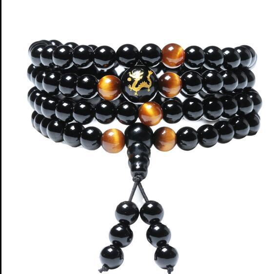natural ice color Obsidian diy Woman Bracelet men's South Korea version tide hand jewelry 108 beads hand transfer Zodiac
