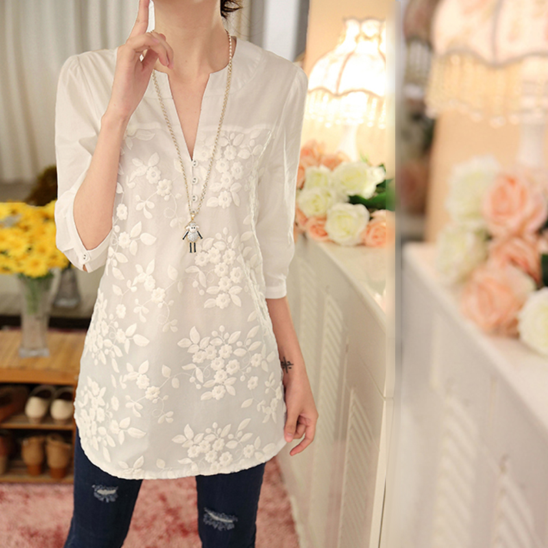 2020 spring and summer women clothing lace blouses new style white casual V-neck blouses