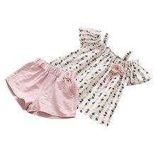 Hinfaesn/летние комплекты одежды для девочек модные комплекты одежды для девочек с листьями, цветы бретели блузка с открытыми плечами топ+ шорты одежда для детей