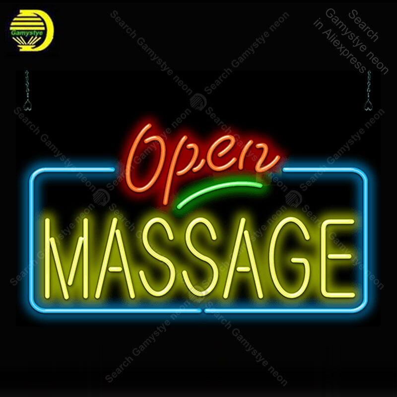 Enseigne au néon pour Massage enseigne au néon ouverte entreprise affichage Tubes en verre fabriqué à la main remplir des enseignes au néon au gaz pour salle personnalisée nein