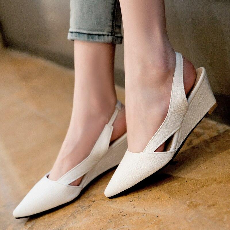 white Creux Haute Talons 33 Wedge Pointu Black Bout Mode 45 Chaussures Sandales Femme red Sangle Arrière D'été Femmes qB8TBw