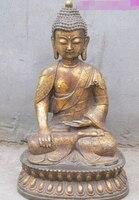 Fast shipping 16Tibetan old Bronze gild Sakyamuni Tathagata anima luck Buddha Statue