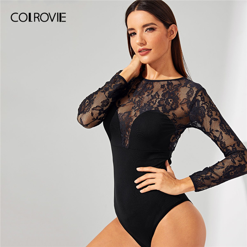 COLROVIE Black Floral Lace Backless Sexy Bodysuit Womens
