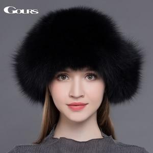 Image 3 - Gours Bontmuts Voor Vrouwen Natuurlijke Wasbeer Vossenbont Russische Ushanka Hoeden Winter Dikke Warme Oren Fashion Bomber Cap Zwart nieuwe Collectie