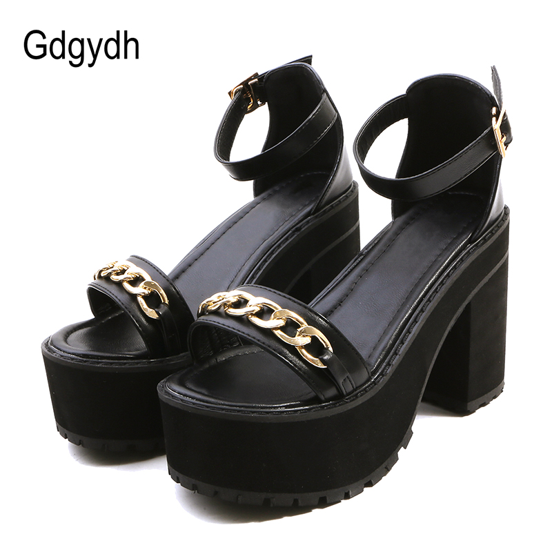 Gdgydh 2018 New Summer Chain High Heels Women Shoes Fashion Cover Heel Platform Sandals Summer Buckle Open Toe Woman Sandals 2017 new summer pep toe woman sandals platform thick heel summer women shoes hook