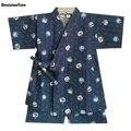 2019 novos meninos pijamas conjuntos crianças azul impressão pijamas conjunto infantil roupas de casa curto dos desenhos animados algodão quimono sleepwear