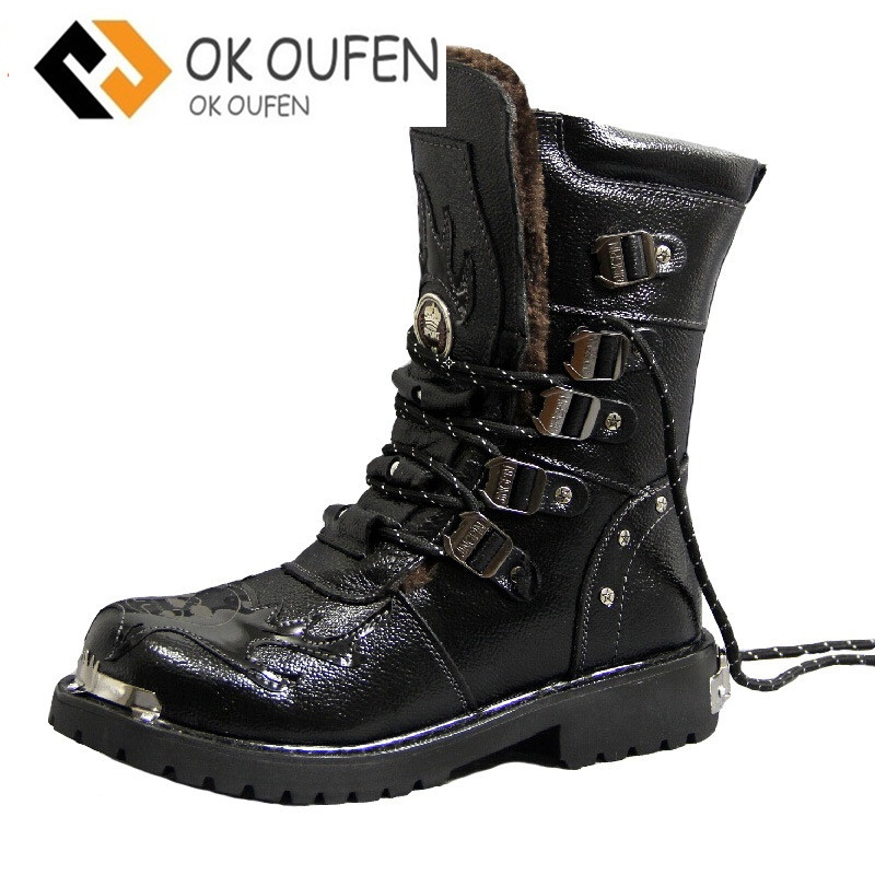 Army Boots Men Military Boots Genuine Leather Winter Black