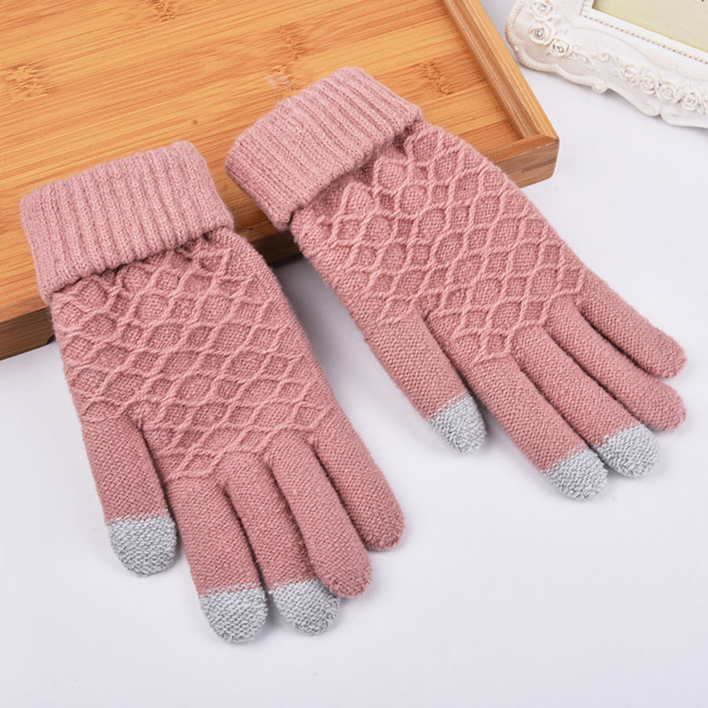 Hot Selling Fashion Winter Warm Vogue Solid Knitted Full Finger Gloves Mittens For Smart Phone Touches Screen -B5