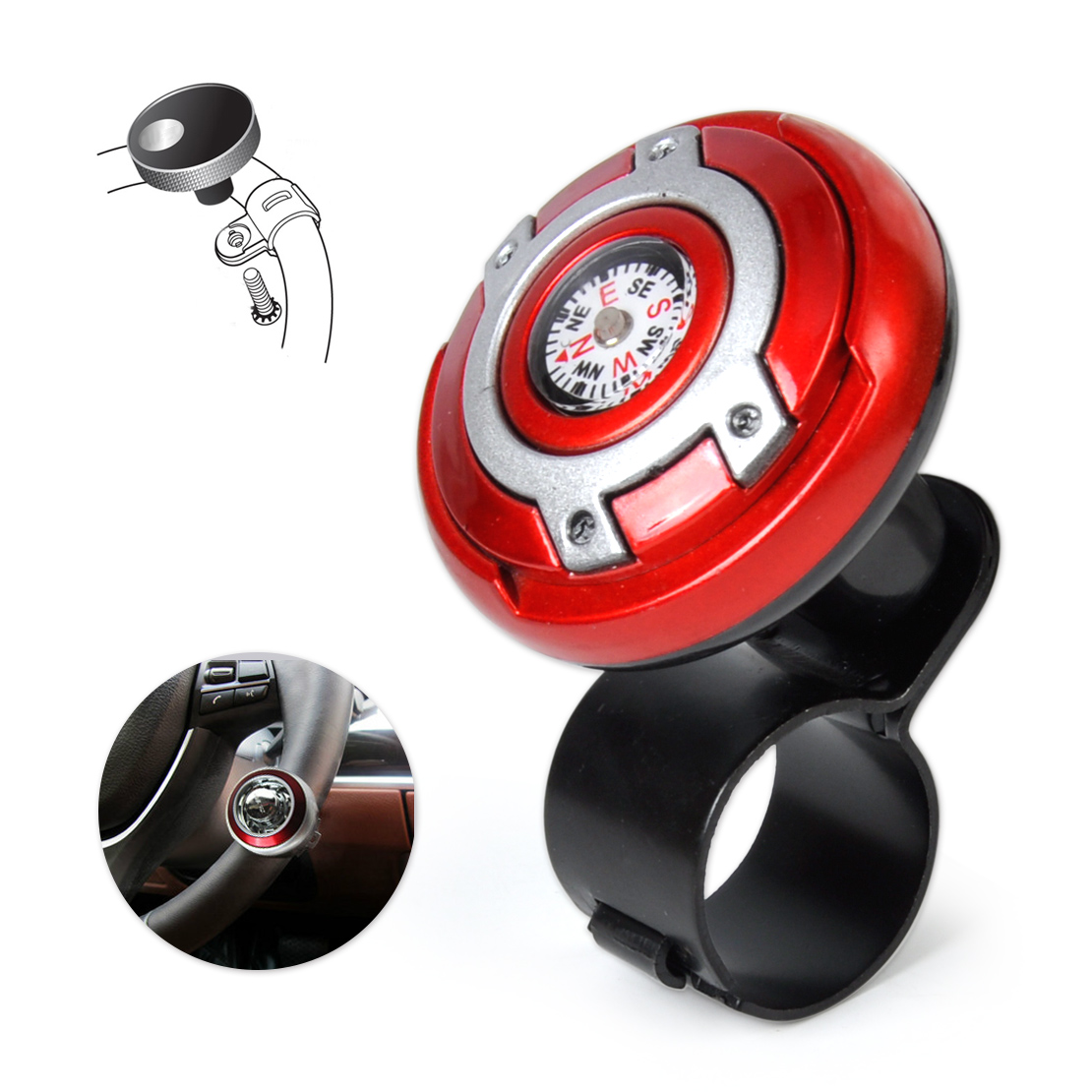 DWCX 2in1 Car Wheel Steering Knob Power Ball Control Power Handle Grip with Navigation Compass for focus Golf Corolla Civic Rio
