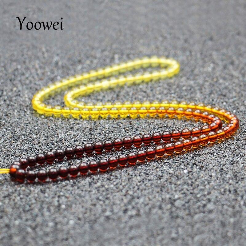 Yoowei arcoíris ámbar Collar largo suéter cadena suministro certificado autenticidad genuino Báltico ámbar piedra Collar de cadena-in Collares from Joyería y accesorios    1