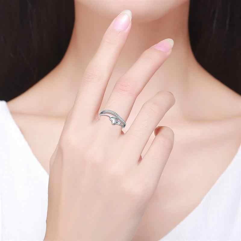 Jiayiqi Moda 925 Anéis De Prata Esterlina Mulheres Jóias Finas Coração Charme Alfabeto CZ Cristal Anel de Casamento Presentes do Dia Dos Namorados