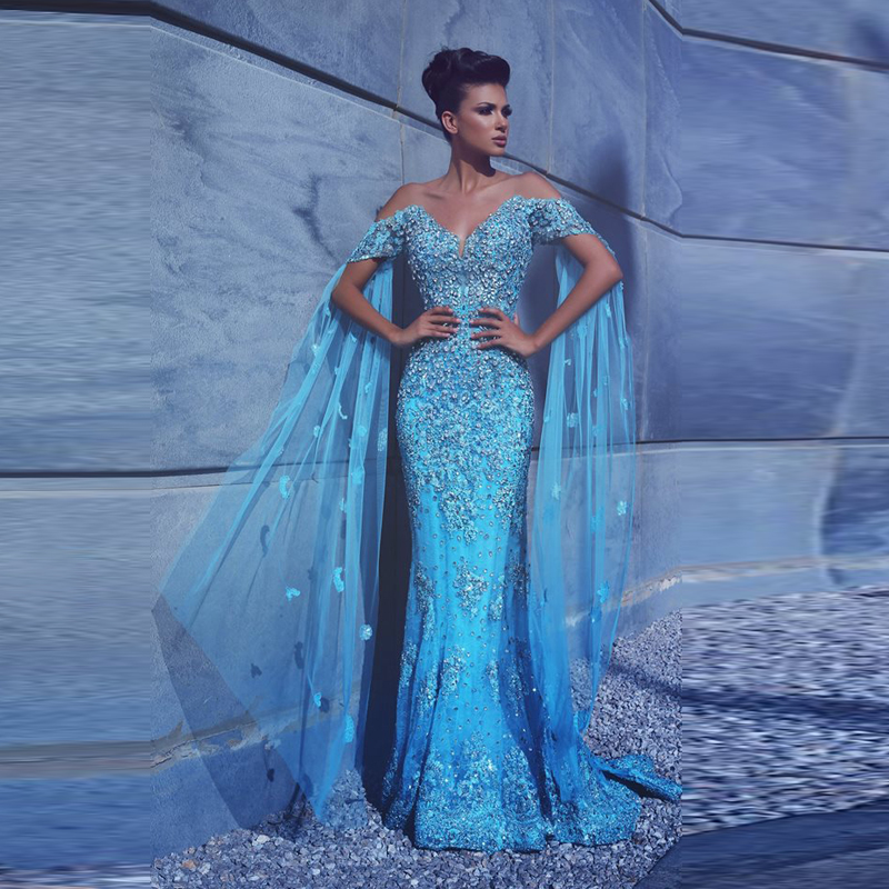 1307bad5d23 Sky Blue Lebanon Mermaid Evening Dresses With Cloak Lace Beaded Crystal  Sparkly Prom Gowns Saudi Arabic Charming Party Dresses