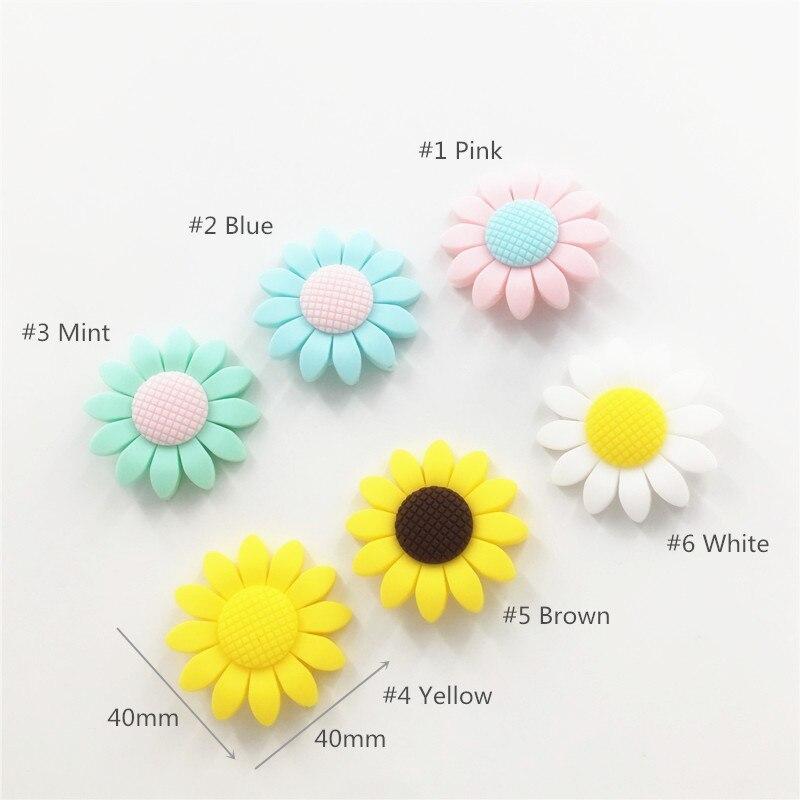 Chenkai 50 pcs sans BPA Silicone fleur de soleil perles de dentition bricolage bébé douche collier de dentition accessoires de jouets sensoriels Montessori-in Perles from Bijoux et Accessoires    1