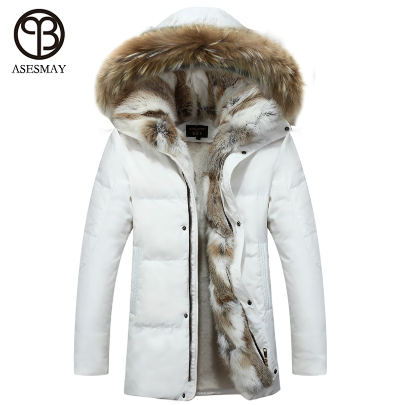 US $199.0 |Asesmay 2019 fashion men winter jackets brand clothing wellensteyn jacket winter coat men winter jacket men coats raccoon hooded in Down
