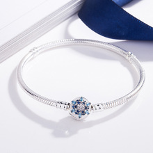 Blue Flower S925 Silver Bracelet Snake Chain Bangle For European Sterling Silver Charm Bead Women Girl Jewelry Valentine Gift недорого
