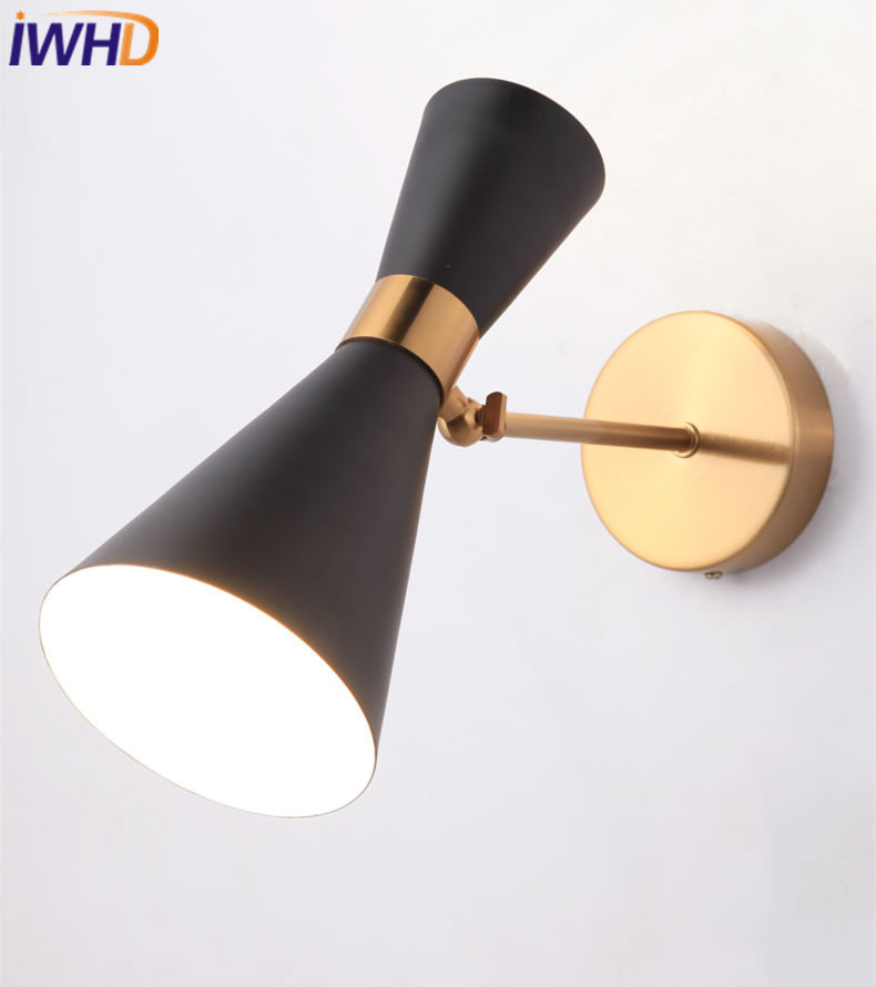 IWHD Nordic LED Wall Lamp Modern Simple Wall Lights Creative Loft Iron Bedside Fixtures For Home Lighting Arandela Luminaire 2 lights modern creative metal wall light simple glass shade wall sconces fixtures lighting for hallway bedroom bedside wl282 2