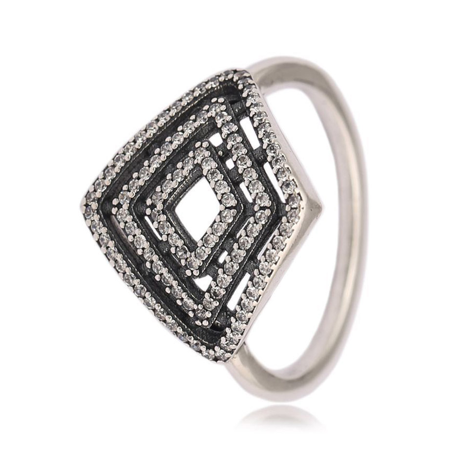 Geometric Lines Ring for Women Authentic 925 Sterling Silver Jewelry Vintage Style For Women Wedding Gift fit Lady Jewelry