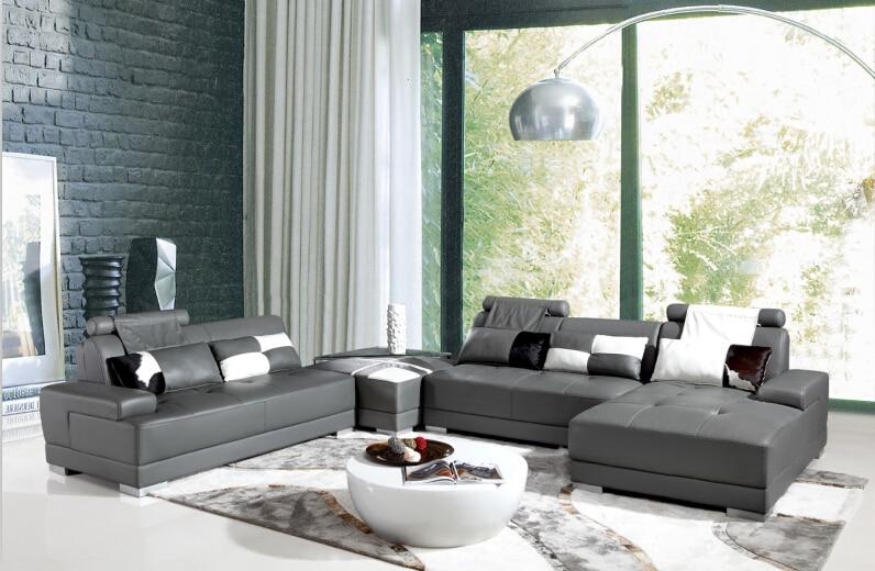 Hoekbank lederen met moderne ontwerp lederen sofa u vorm en banken ...